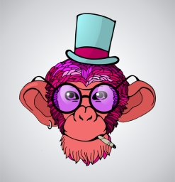 Portrait of a monkey with pink hair in a hat and a cigarette, ve